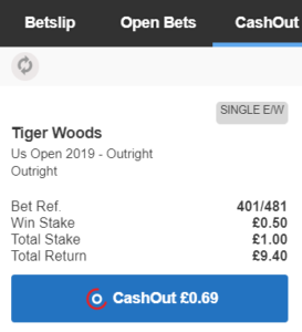 betfred cash out golf